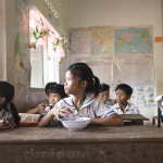 CAMBODIAN SCHOOL HOUSE AND CHILDREN